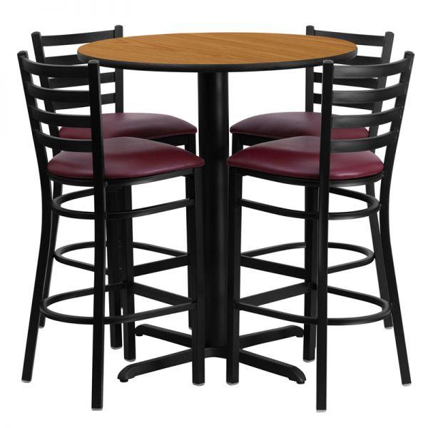 Flash Furniture 30'' Round Natural Laminate Table Set with 4 Ladder Back Metal Barstools - Burgundy Vinyl Seat
