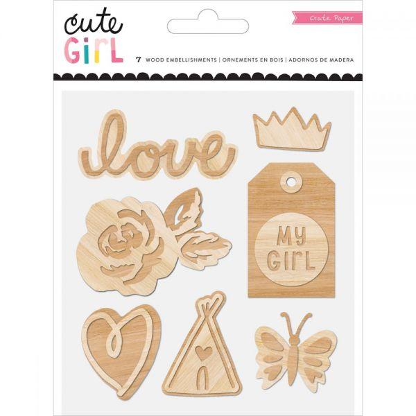 Cute Girl Wood Veneer Shapes 7/Pkg