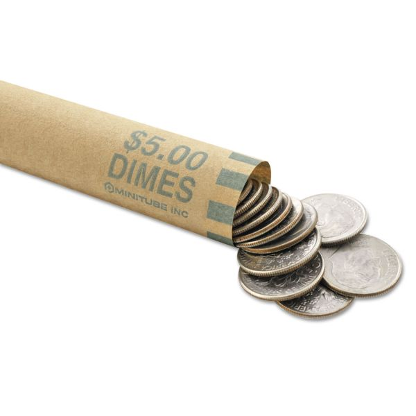 MMF Industries Nested Preformed Coin Wrappers, Dimes, $5.00, Green, 1000 Wrappers/Box