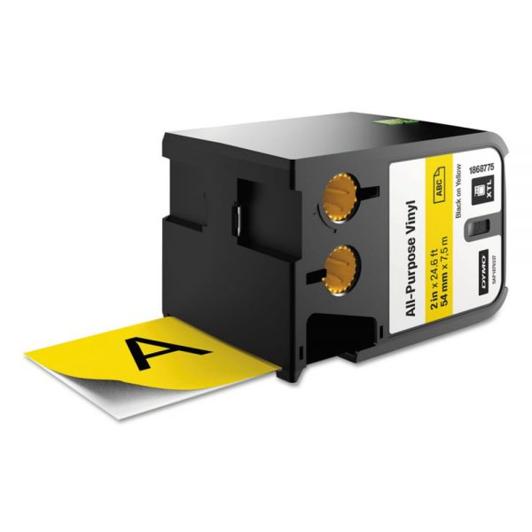 "DYMO XTL All-Purpose Vinyl Labels, 2"" x 24.6 ft., Yellow/Black Print"