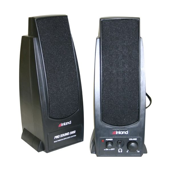 Inland Products Pro Sound 2000 2.0 Speaker System - 7.2 W RMS - Black