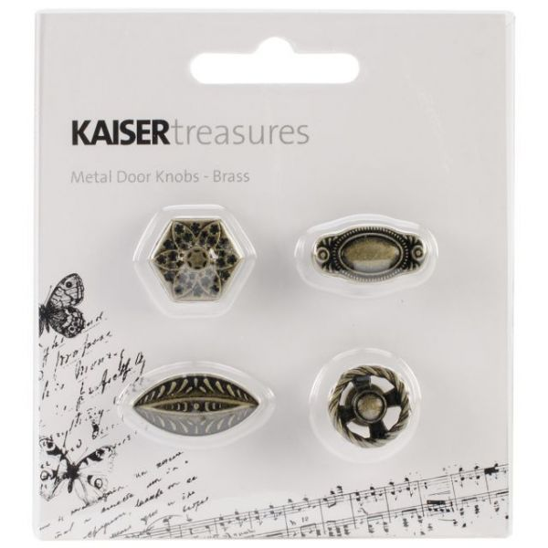 "Treasures Metal Door Knobs .75""X.75""X.5"" To 1""X.5""X.5"" 4/Pkg"