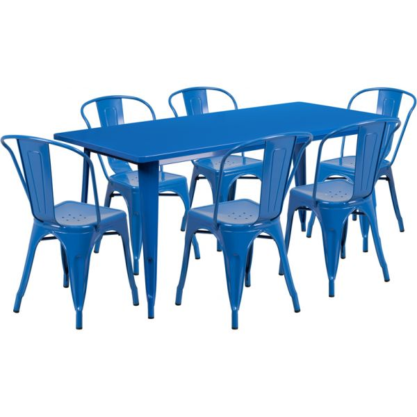 Flash Furniture 31.5'' x 63'' Rectangular Blue Metal Indoor-Outdoor Table Set with 6 Stack Chairs