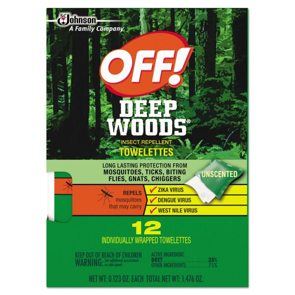 OFF! Deep Woods Towelettes, 12/Box, 12 Boxes per Carton