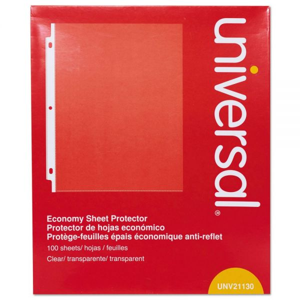 Universal Top-Load Poly Sheet Protectors, Letter, Economy, Clear, 100/Box