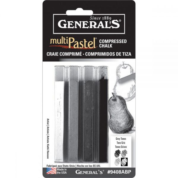 Multi Pastel Compressed Chalk Sticks 4/Pkg