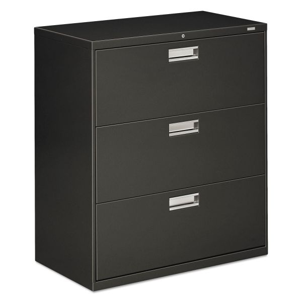 HON 600 Series Three-Drawer Lateral File, Letter/Legal/A4, 36w x 19-1/4d, Charcoal