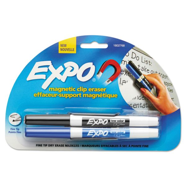 EXPO Magnetic Clip Eraser w/2 Markers, Fine, Black/Blue, 1 Set