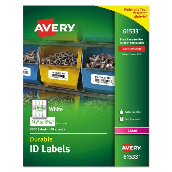 Avery Permanent ID Labels w/TrueBlock Technology, Laser, 2/3  x 1 3/4 , 3000/Pack