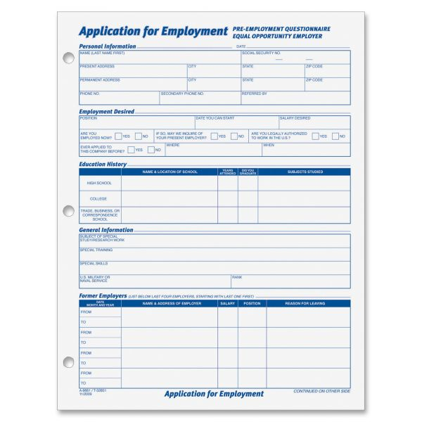 TOPS Employment Application Forms