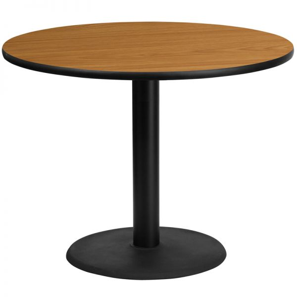 Flash Furniture 42'' Round Natural Laminate Table Top with 24'' Round Table Height Base