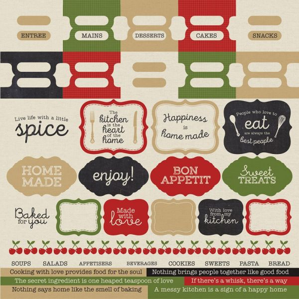 "Bon Appetit Cardstock Stickers 12""X12"""