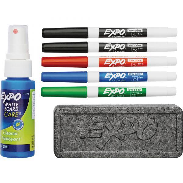 EXPO Dry Erase Marker, Eraser and Cleaner Kit, Fine, 5 Assorted, 1 set