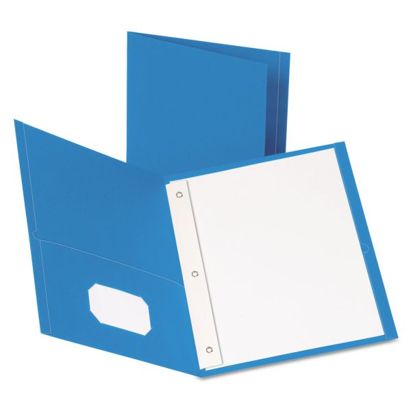 Oxford Light Blue Two Pocket Folders with Fasteners