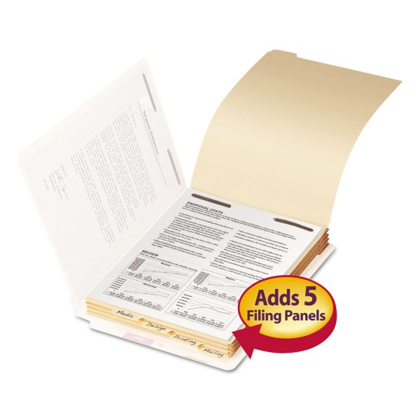 """Smead Stackable End Tab Folder Dividers with Fastener, Letter, 1/2"""" Cap, 50 Each/Pack"""
