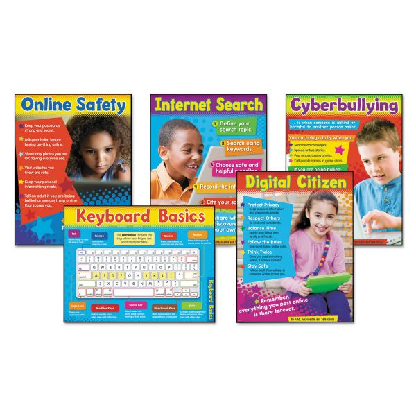 TREND Learning Chart Combo Pack, Technology, Online Safety, 18w x 27 1/4h, 5/Set