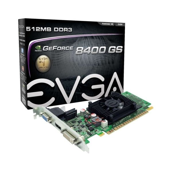 EVGA 512-P3-1300-LR GeForce 8400 GS Graphic Card - 520 MHz Core - 512 MB DDR3 SDRAM - Low-profile - Single Slot Space Required