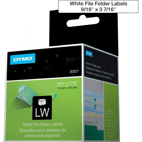 DYMO LabelWriter 1-UP File Folder Labels, 9/16 x 3 7/16, White, 130/Roll, 2 RL/PK