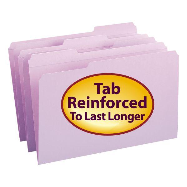 Smead File Folders, 1/3 Cut, Reinforced Top Tab, Legal, Lavender, 100/Box
