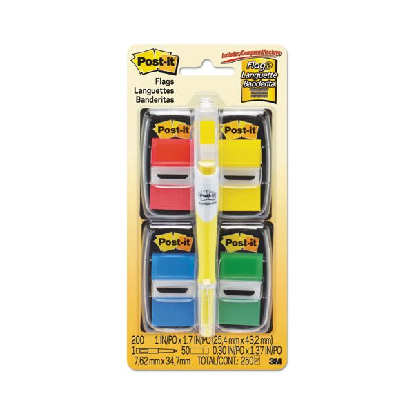 """Post-it Flags Page Flag Value Pack, Assorted, 200 1"""" Flags + Highlighter with 50 1/2"""" Flags"""