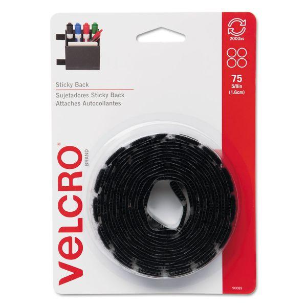 "Velcro Sticky-Back Hook & Loop Fasteners, 5/8"" dia. Coins, Black, 75/Pack"