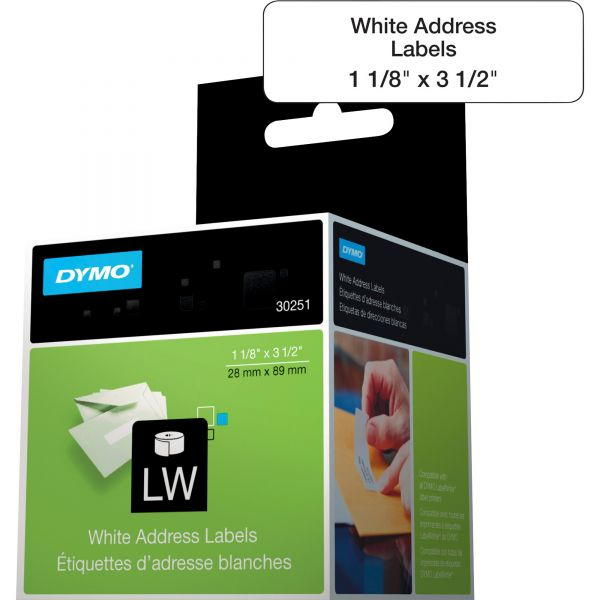DYMO LabelWriter Address Labels, 1 1/8 x 3 1/2, White, 130 Labels/Roll, 2 Rolls/Pack