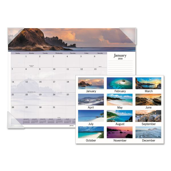 AT-A-GLANCE Images of the Sea Monthly Desk Pad Calendar, 22 x 17, 2018