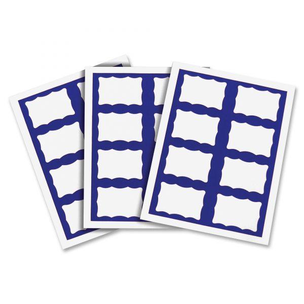 C-Line Laser Printer Name Badges, 3 3/8 x 2 1/3, White/Blue, 200/Box