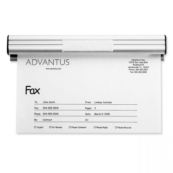 "Advantus Grip-A-Strip Display Rail, 9"" Long, 1 1/2"" High, Satin Aluminum Finish"