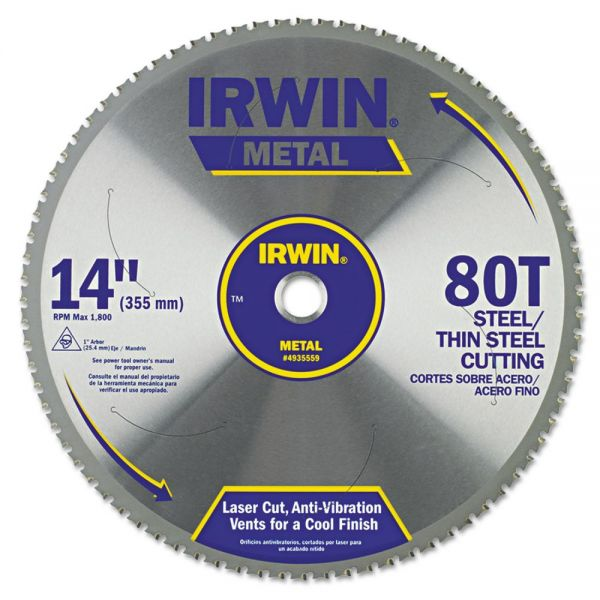 IRWIN 80T Metal Cutting Ferrous Steel Circular Saw Blade, 14in