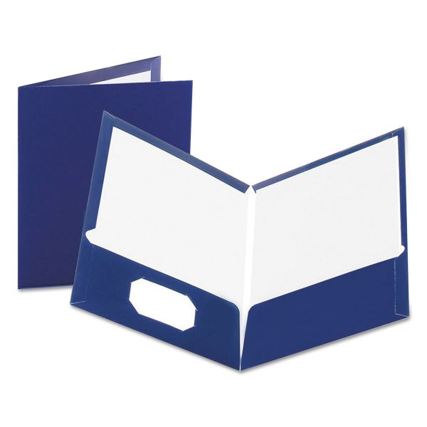 Oxford Laminated Dark Blue Two Pocket Folders