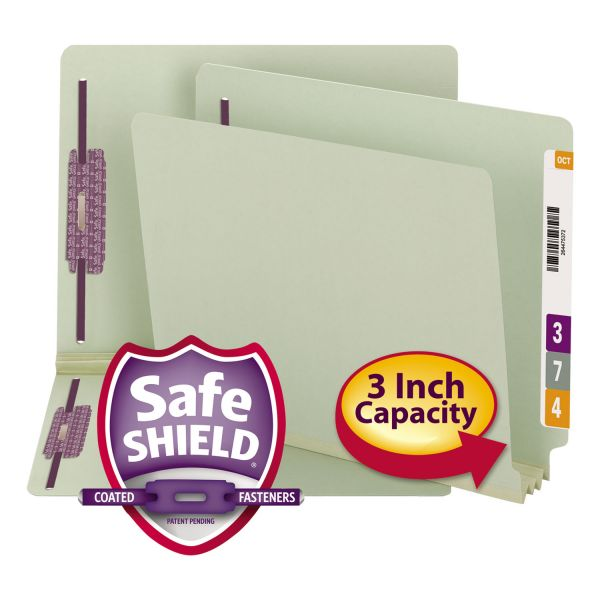 Smead Three Inch Expansion Folder, Two Fasteners, End Tab, Letter, Gray Green, 25/Box