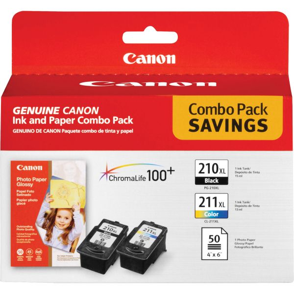 Canon PG-210 Black/CL-211 Color Ink Cartridges & Photo Paper Combo Pack