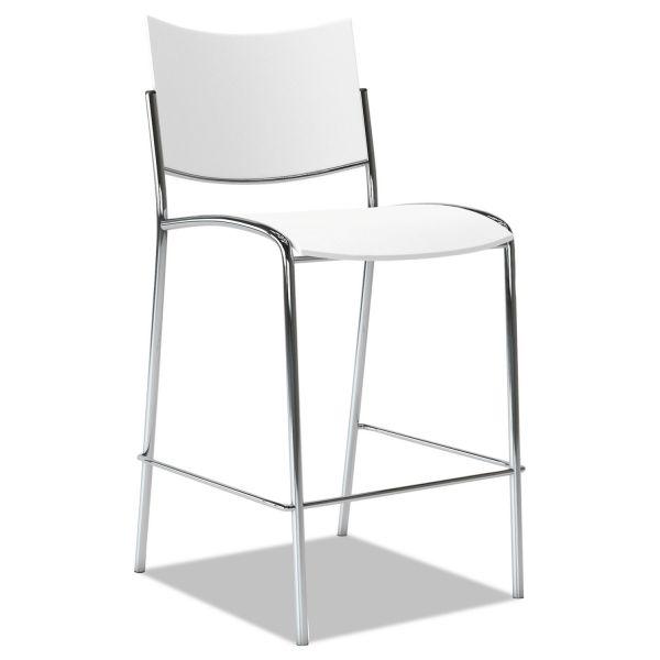Mayline Escalate Stacking Stool, Plastic Back/Seat, White, 2 Stools/Carton