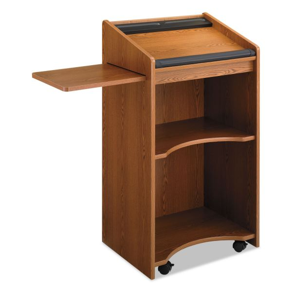 Safco Executive Mobile Lectern With Pull-Out Shelf, 25 1/4w x 19-3/4d x 46h, Med Oak