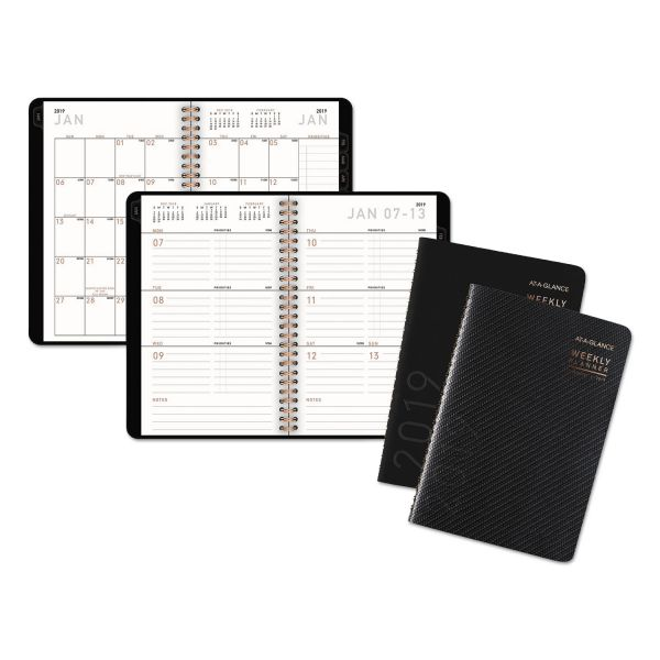 AT-A-GLANCE Contemporary Weekly/Monthly Planner, Block, 4 7/8 x 8, Black Cover, 2019