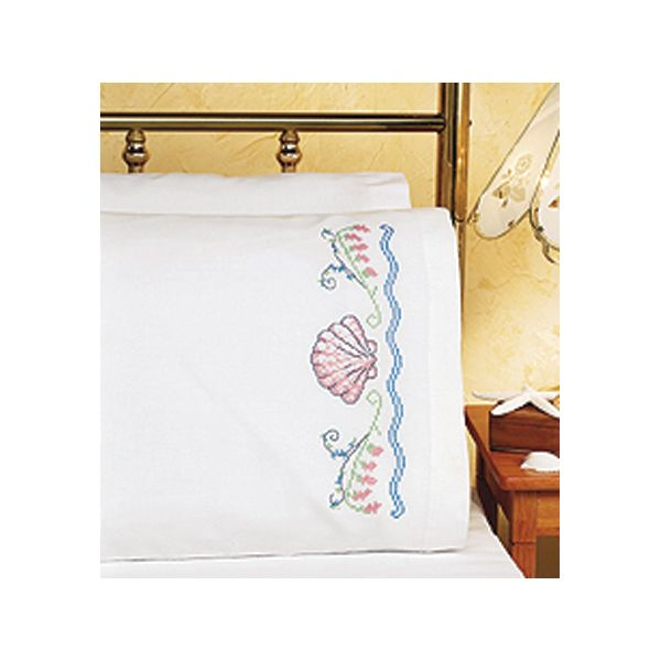 Janlynn Stamped Cross Stitch Pillowcases