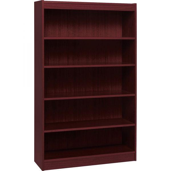Lorell Panel End 5-Shelf Hardwood Veneer Bookcase
