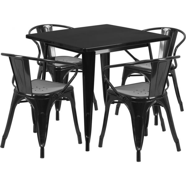 Flash Furniture 31.5'' Square Black Metal Indoor-Outdoor Table Set with 4 Arm Chairs