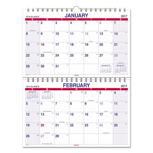 AT-A-GLANCE Move-A-Page Two-Month Wall Calendar, 22 x 28 1/2, Move-A-Page, 2018-2019