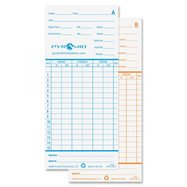 Pyramid Monthly Time Cards for 2600 Time Recorders