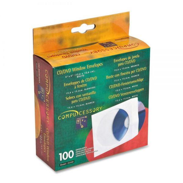 Compucessory CD/DVD White Window Envelopes