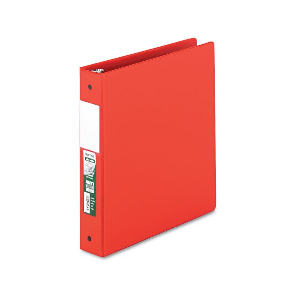 "Samsill Clean Touch Locking 3-Ring Reference Binder, Antimicrobial, 1 1/2"" Capacity, Round Ring, Red"