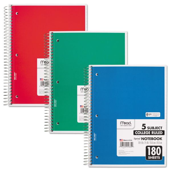 Mead 5-Subject College Ruled Spiral Notebook