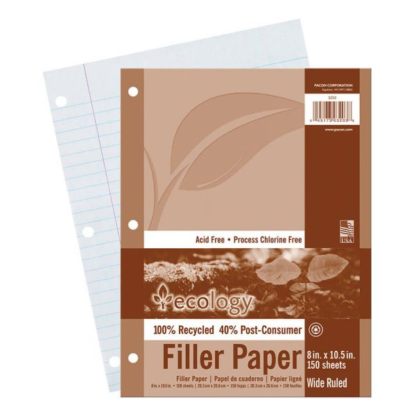 Ecology Recycled Wide Ruled Loose Leaf Paper