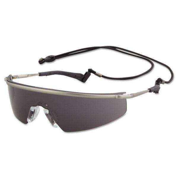 MCR Safety Triwear Metal Protective Eyewear, Platinum Frame, Gray Anti-Fog Lens