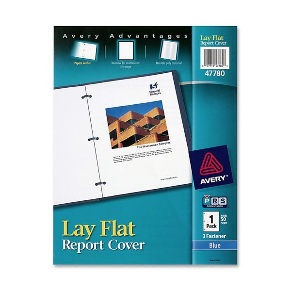 "Avery Lay Flat View Report Cover w/Flexible Fastener, Letter, 1/2"" Cap, Clear/Blue"