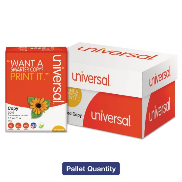 Universal 30% Recycled Copy Paper, 92 Brightness, 20 lb, 8 1/2 x 11, White, 200000 Sheets/Carton