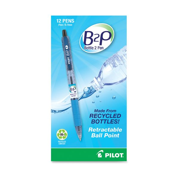 Pilot B2P Bottle-2-Pen Recycled Retractable Ball Point Pen, Black Ink, .7mm, Dozen