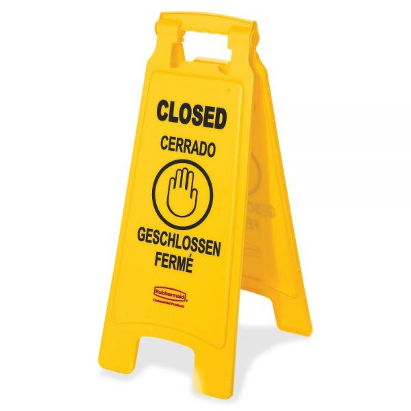 """Rubbermaid Commercial 6112-78 Floor Sign with Multi-Lingual """"Closed"""" Imprint, 2-Sided"""